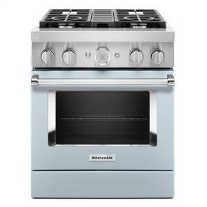 KitchenAidKitchenAid® 30'' Smart Commercial-Style Dual Fuel Range with 4 Burners - Misty Blue