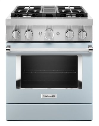 KitchenAid™ 30'' Smart Commercial-Style Dual Fuel Range with 4 Burners - Misty Blue