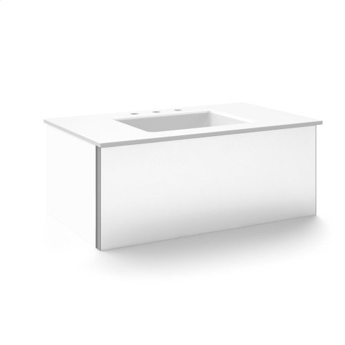 "V14 36-1/4"" X 14"" X 21"" Wall-mount Vanity In White With Slow-close Plumbing Drawer and 37"" Stone Vanity Top In Quartz White With Center Mount Sink and Single Faucet Hole"