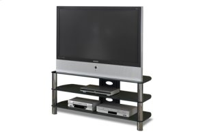 """50"""" Wide - Easy To Assemble Stand With Black Glass Top and Shelves, Accommodates Most 55"""" and Smaller Flat Panels"""