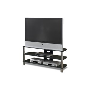 "50"" Wide - Easy To Assemble Stand With Black Glass Top and Shelves, Accommodates Most 55"" and Smaller Flat Panels"