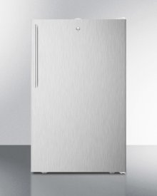 """ADA Compliant 20"""" Wide Built-in Undercounter All-freezer for General Purpose Use, -20 C Capable With A Lock, Ss Door, Thin Handle and White Cabinet"""