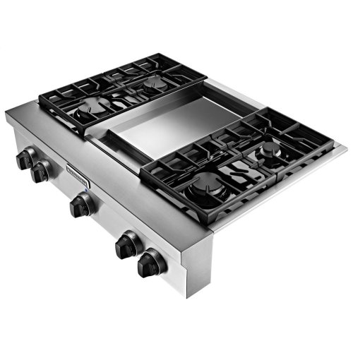 36 Inch 4 Burner With Griddle Gas Rangetop Commercial Style Stainless