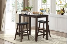 3-Piece Pack Counter Height Set Table: 23.75 x 47.25 x 35.5H Stool: 17.5 x 15 x 25H
