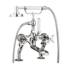 Waldorf Crosshead Exposed Two Handle Tub Faucet with Handshower - Polished Chrome