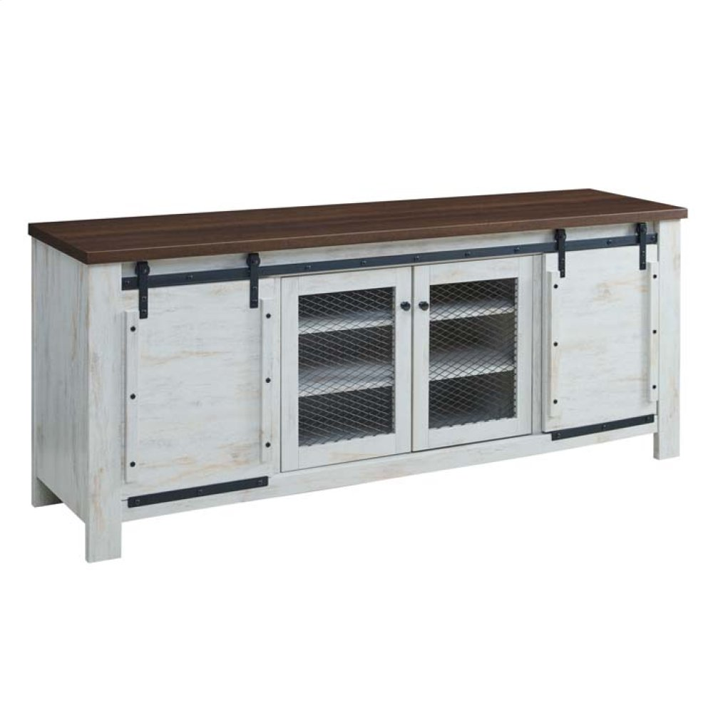 "Bennington 70"" Rustic Sliding Door Buffet Table Sideboard in White"