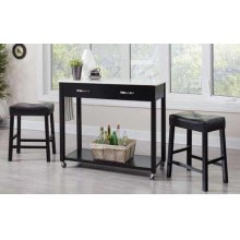 Traditional Black Three-piece Dining Set