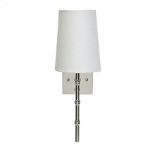 """Nickel Plated Sconce With Bamboo Detail & White Linen Shade -ul Approved for One 40w Candelabra Bulb -back Plate Dimensions: 4.5""""H X 4.5""""W Sconce Shades Also Available for Purchase: Navy: Ls-scnvy Pink: Ls-scpi Black: Ls-scbl"""