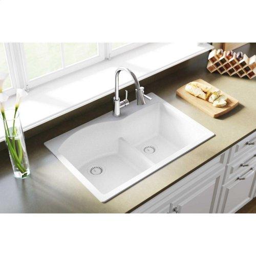 "Elkay Quartz Classic 33"" x 22"" x 10"", Offset 60/40 Double Bowl Drop-in Sink with Aqua Divide, White"
