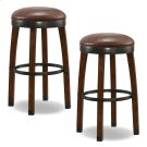Sienna Wood Cask Stave Bar Height Stool with Sable Faux Leather Seat #10119SN/SB - Set of 2 Product Image