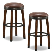 Sienna Wood Cask Stave Bar Height Stool with Sable Faux Leather Seat #10119SN/SB - Set of 2