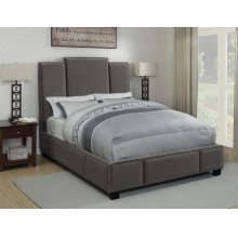 Lawndale Grey Velvet Upholstered California King Bed