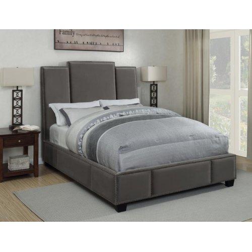 Lawndale Grey Velvet Upholstered California King Bed