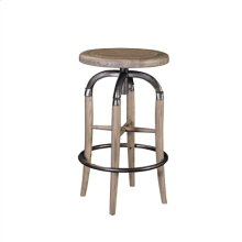 NATURAL FINISHED SWIVEL KITCHE N STOOL WITH METAL ACCENTS