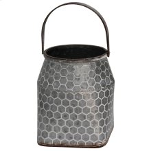 Galvanized  8in W. X 9in Ht. Metal Vase with Handle