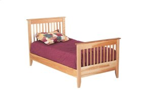 Rossport Bed, Two Position Wood Rails, Wooden Slats