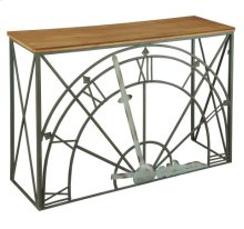 Clock Dial Console with Wood Top