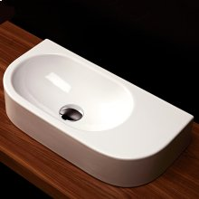"Wall-mount or above-counter porcelain Bathroom Sink without an overflow, no faucet holes, 21 5/8""W x 10 5/8""D x 4 3/4""H"