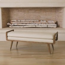 Lucas Long Bench-Beige Leather