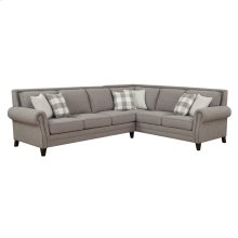 "2pc-lsf Sofa-rsf Corner Sofa W/6 18"" Accent Pillows-pebble Gray"