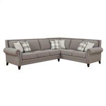 "2pc-lsf Sofa-rsf Corner Sofa W/6 18"" Accent Pillows-pebble Gray"
