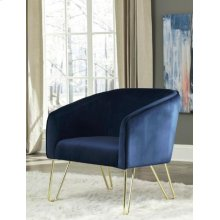Modern Blue and Brass Accent Chair