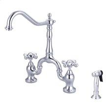 Carlton Kitchen Bridge Faucet - Metal Cross Handles - Polished Chrome
