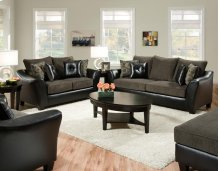 Pinnacle PU Gray Combo Loveseat