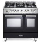 "Matte Black 36"" Dual Fuel Double Oven Range - 'N' Series Product Image"