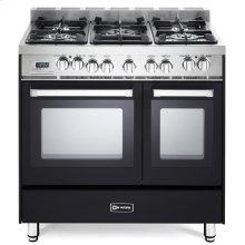 "Matte Black 36"" Dual Fuel Double Oven Range - 'N' Series"
