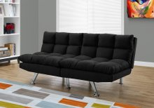 FUTON - SPLIT BACK CONVERTIBLE SOFA / BLACK MICRO-SUEDE