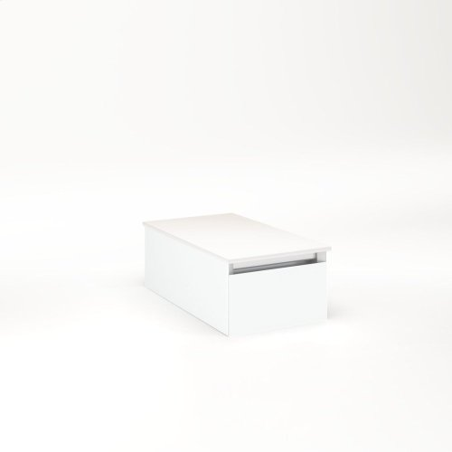 """Cartesian 12-1/8"""" X 7-1/2"""" X 21-3/4"""" Slim Drawer Vanity In Matte White With Slow-close Full Drawer and Night Light In 5000k Temperature (cool Light)"""