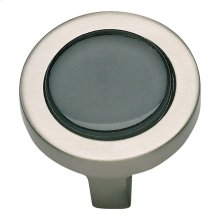 Spa Black Round Knob 1 1/4 Inch - Brushed Nickel