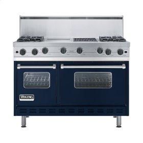 """Viking Blue 48"""" Open Burner Commercial Depth Range - VGRC (48"""" wide, four burners 12"""" wide griddle/simmer plate 12"""" wide char-grill)"""