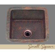 Solid Copper Bar Sink - Light Hammertone Pattern - Dark