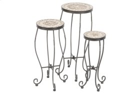 Boracay Rnd Plant Stands w/ Ceramic Tile Top, Iron Base - S/3