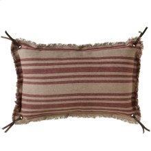 Vintage Red Stripe Fringed Lumbar Pillow.