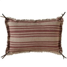 Vintage Red Stripe Fringed Lumbar Pillow.