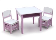 Jack and Jill Storage Table & Chair Set, Pink and White - Style 1