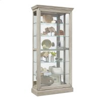 Lighted 5 Shelf Sliding Door Curio with Lock in Natural Beige Product Image