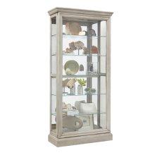 Lighted 5 Shelf Sliding Door Curio with Lock in Natural Beige