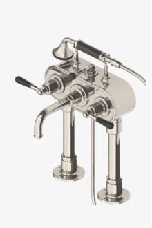 Regulator Exposed Deck Mounted Tub Filler with Handshower and Black Lever Handles STYLE: RGXT50