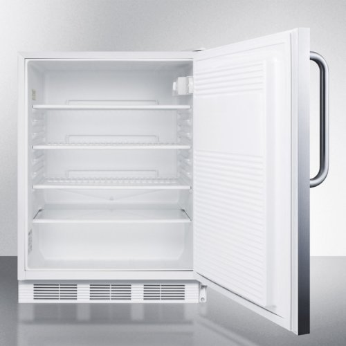 ADA Compliant Built-in Undercounter All-refrigerator for General Purpose Use, Auto Defrost W/lock, Ss Wrapped Door, Towel Bar Handle, and White Cabinet