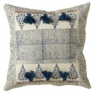 Blue Block Print Pillow (Each One Will Vary). Product Image