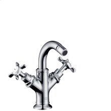 Chrome 2-handle bidet mixer with cross handles and pop-up waste set