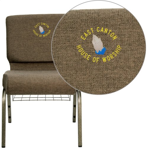 Embroidered HERCULES Series 21''W Church Chair in Brown Fabric with Cup Book Rack - Gold Vein Frame