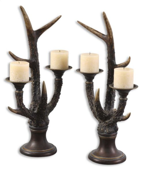 Stag Horn Candleholder, S/2
