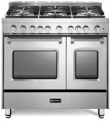 "Stainless Steel 36"" Gas Double Oven Range - Prestige Series"