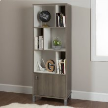 6-Cube Shelving Unit with Door - Gray Maple and Pure White