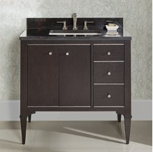 "Charlottesville w/Nickel 36"" Vanity Drawer-Right - Vintage Black"